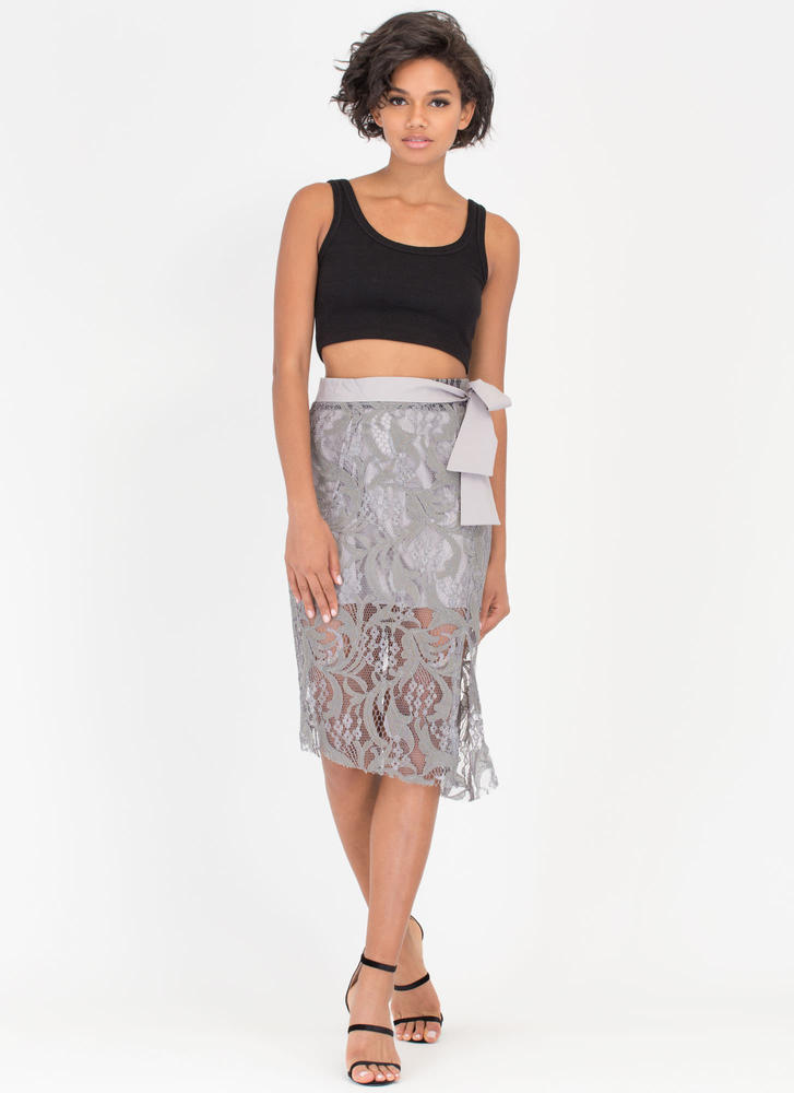 Lace Setter Sheer Tied Skirt