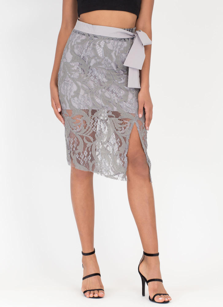 Lace Setter Sheer Tied Skirt GREY