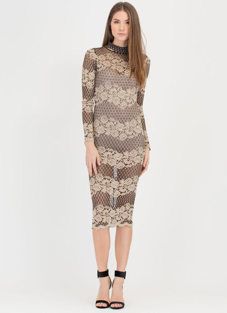 Floral Finery Mesh Mockneck Midi Dress