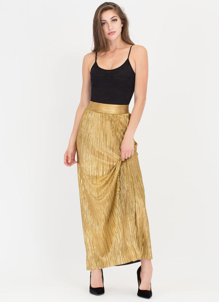 Glow Up Pleated Metallic Maxi Skirt GOLD
