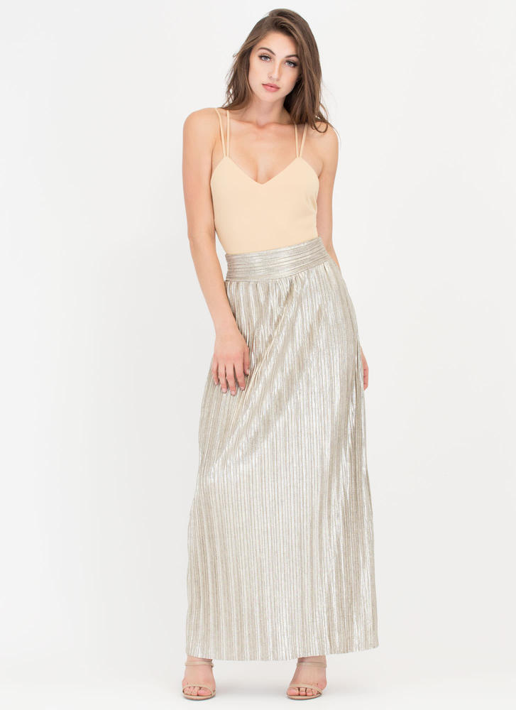 Glow Up Pleated Metallic Maxi Skirt