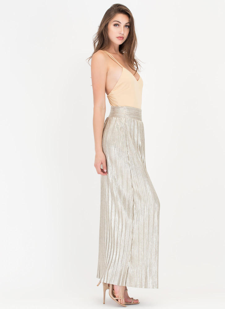 Glow Up Pleated Metallic Maxi Skirt SILVER
