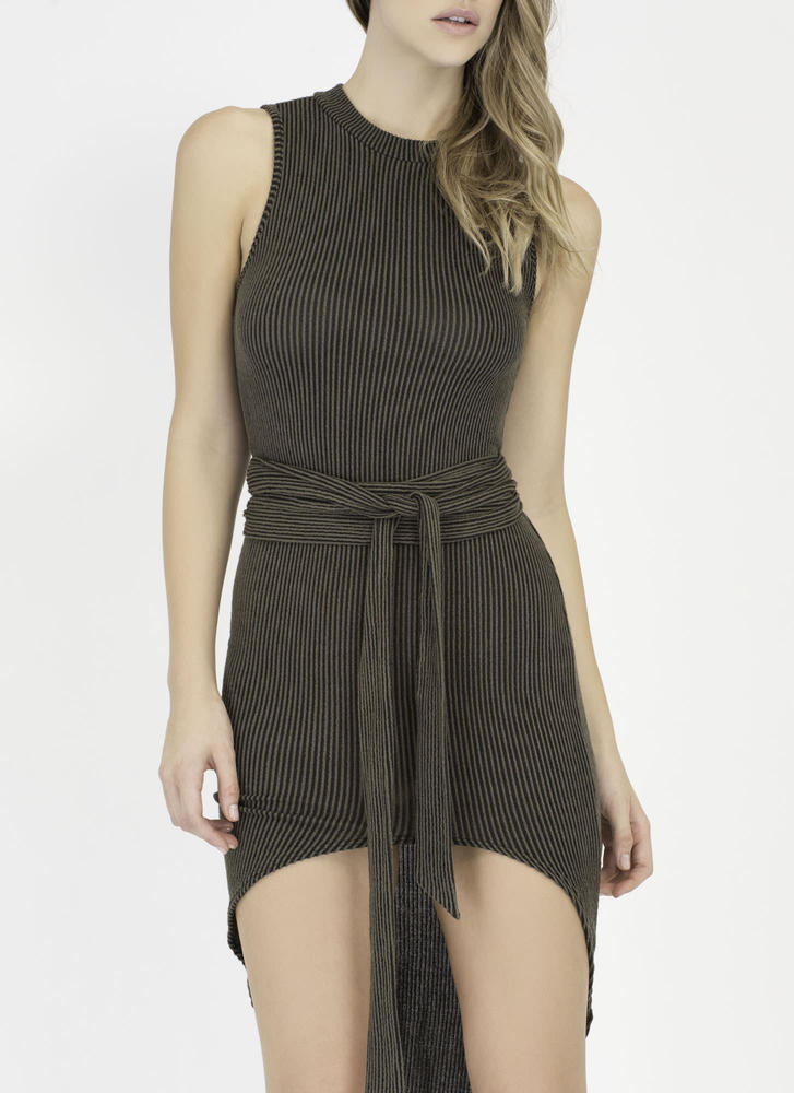 Chic Instinct Ribbed High-Low Dress OLIVE