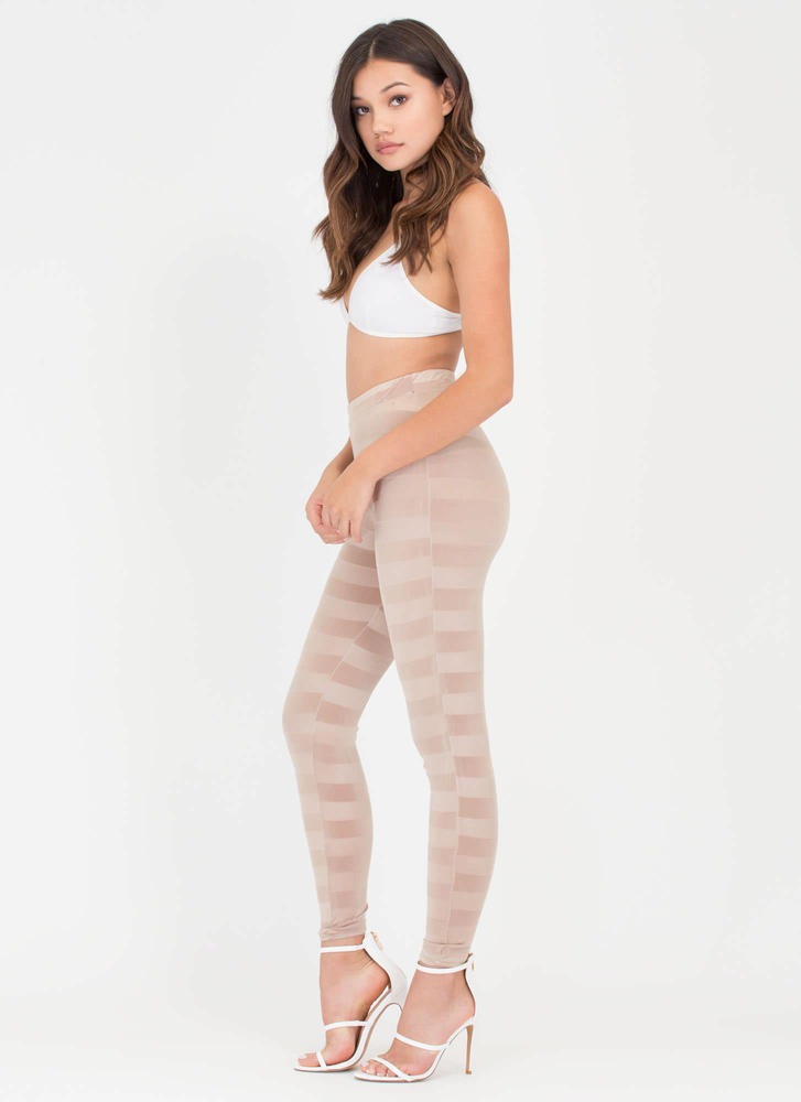 Draw The Line Sheer Striped Pants GOLD