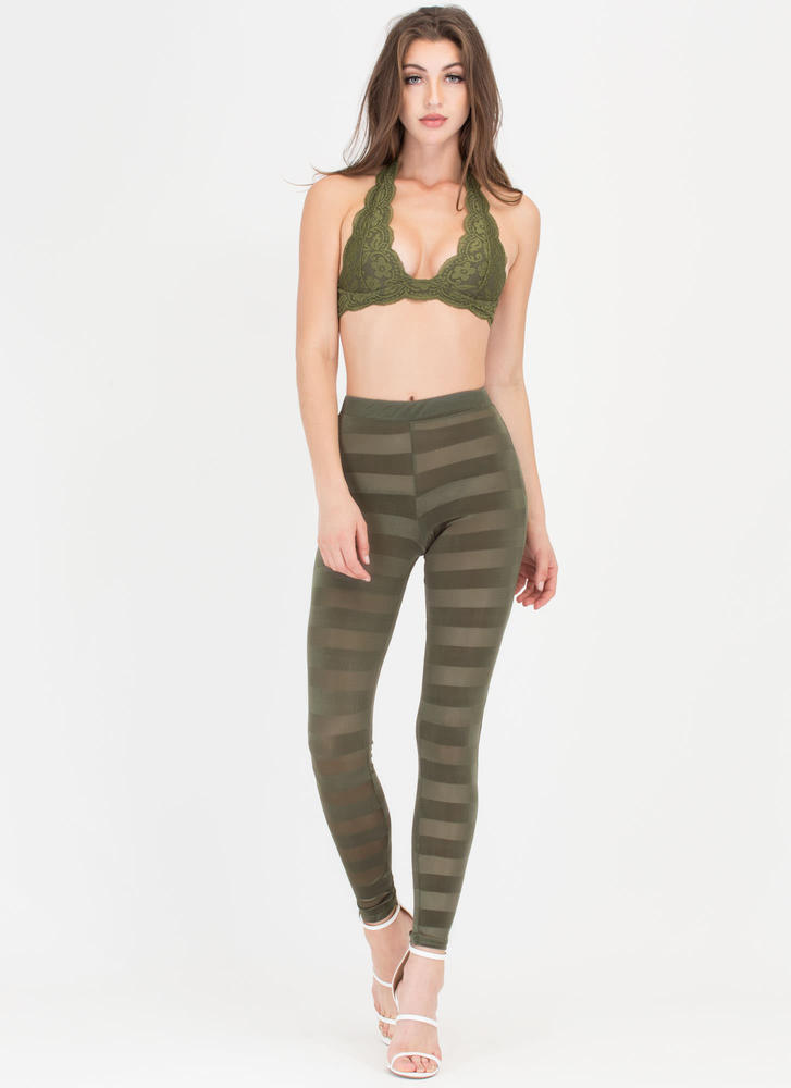 Draw The Line Sheer Striped Pants OLIVE (Final Sale)