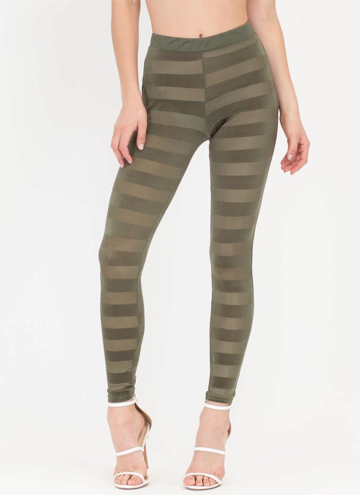 Draw The Line Sheer Striped Pants OLIVE