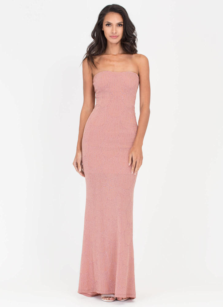 Chic View Sparkly Strapless Maxi Dress PINK