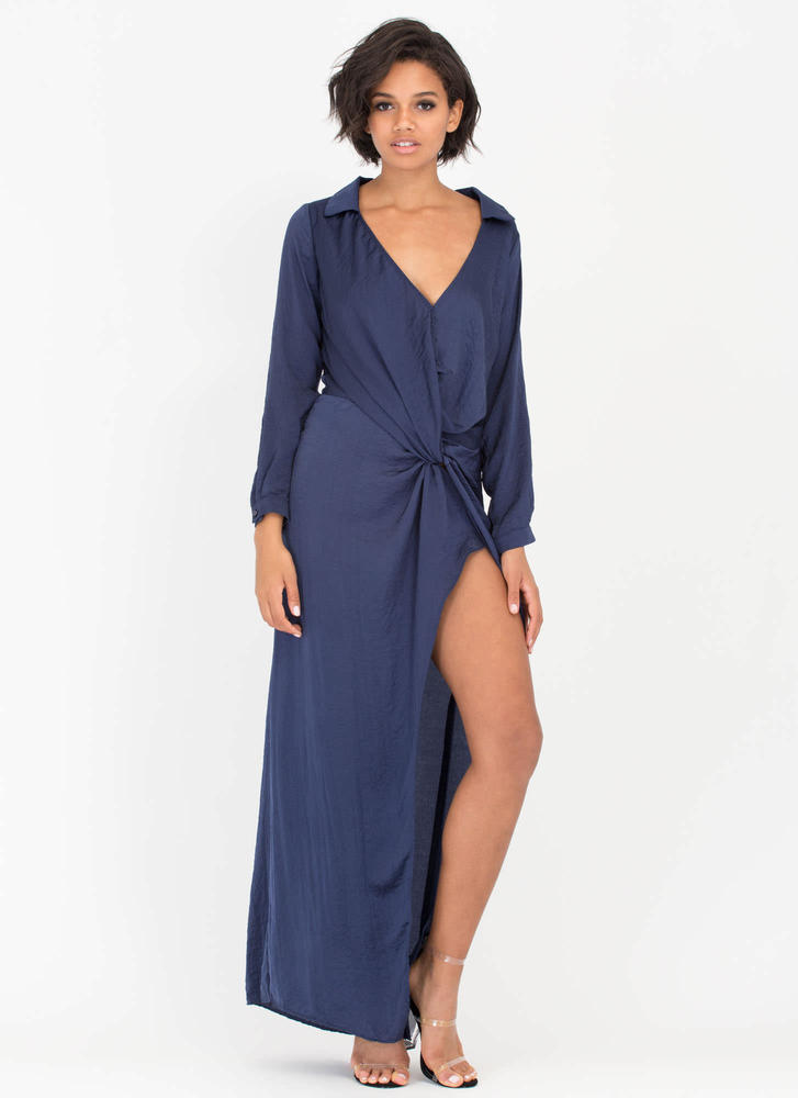 All Curves Plunging Wrap Maxi Dress NAVY (Final Sale)