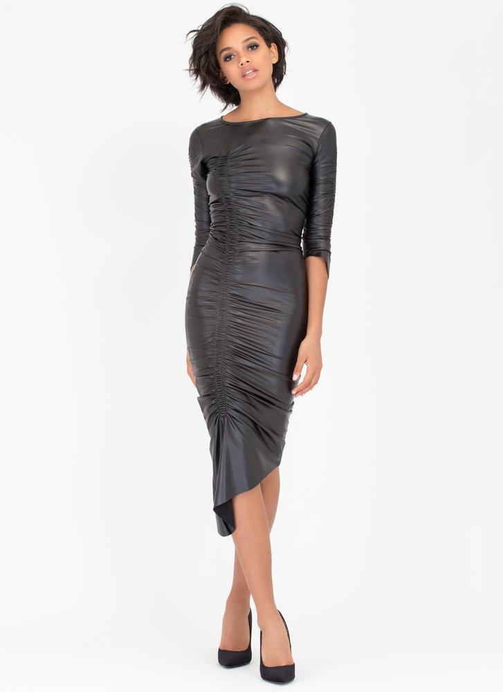 Bold Show Coated Ruched High-Low Dress