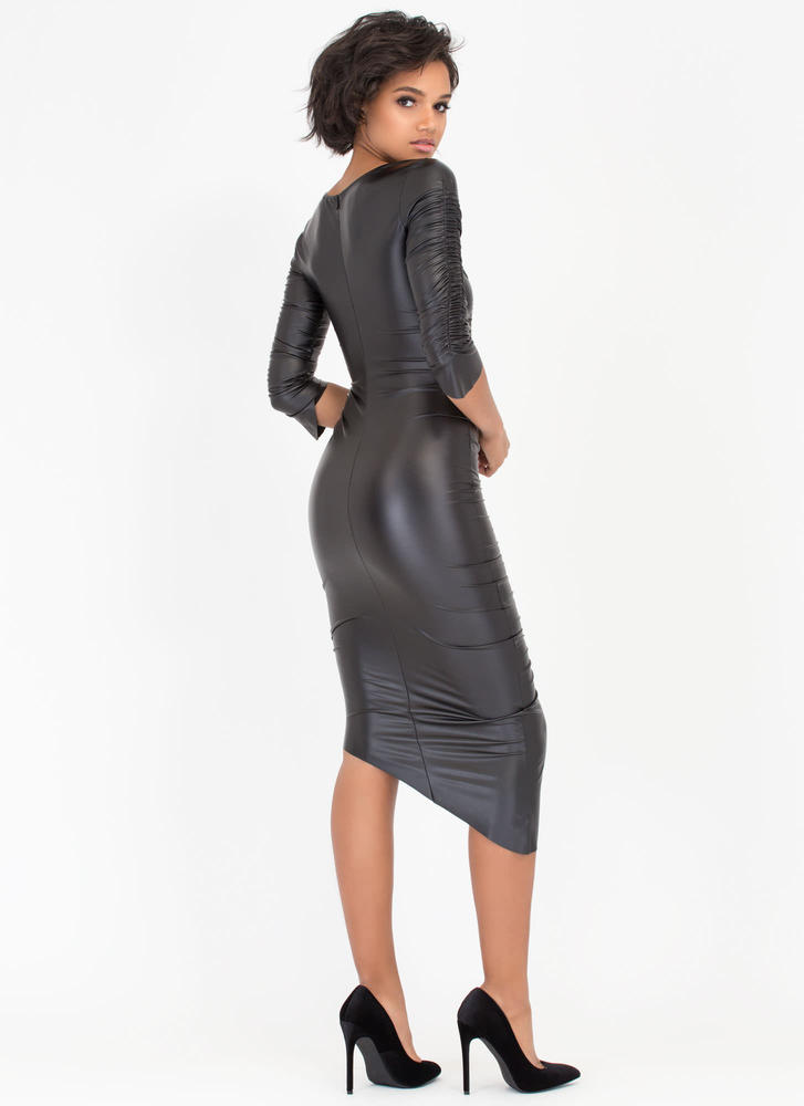 Bold Show Coated Ruched High-Low Dress BLACK (Final Sale)
