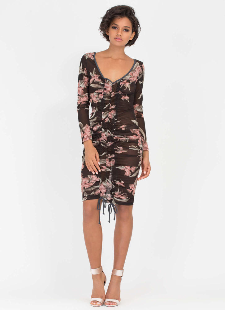 Sheer Joy Floral Ruched Open Back Dress
