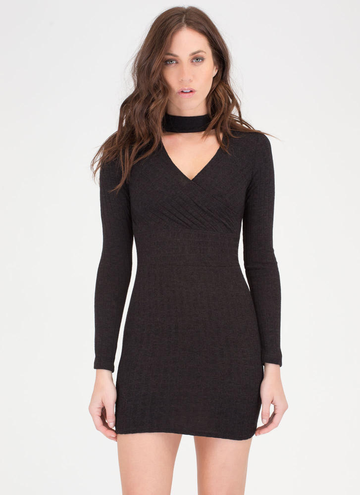 Sweater Whether Rib Knit Dress BLACK