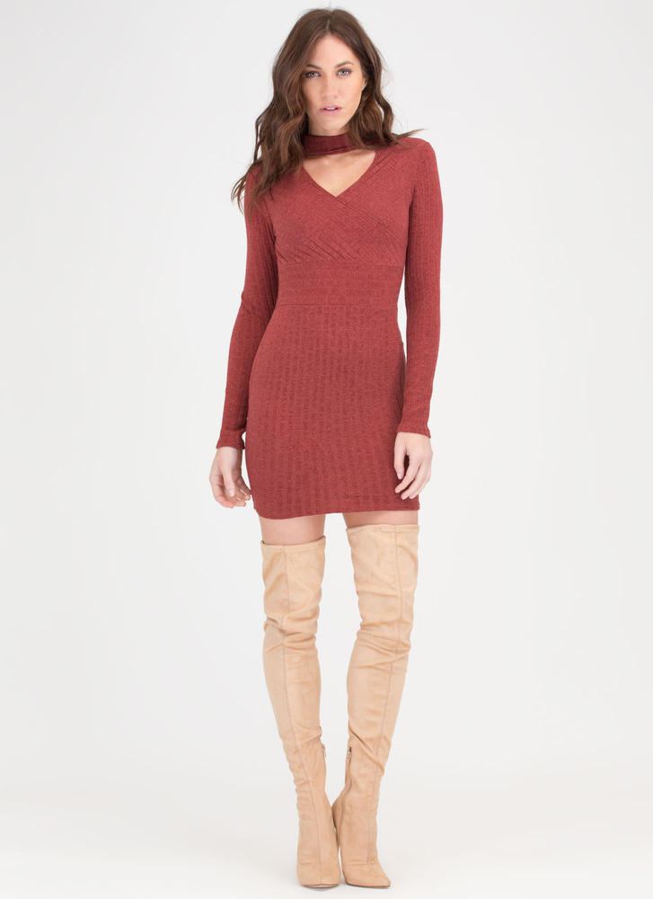Sweater Whether Rib Knit Dress RUST