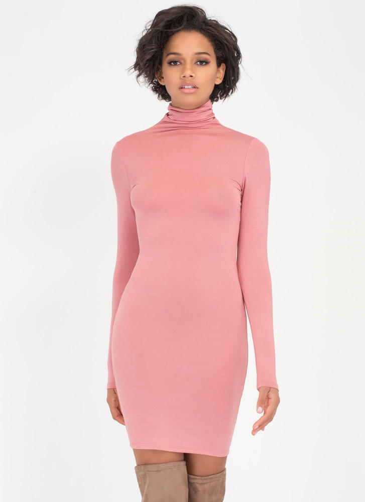 Up To Your Neck Turtleneck Dress MAUVE