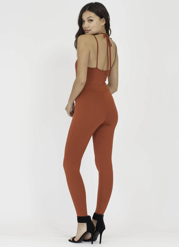 All The Cage Strappy Plunging Jumpsuit RUST