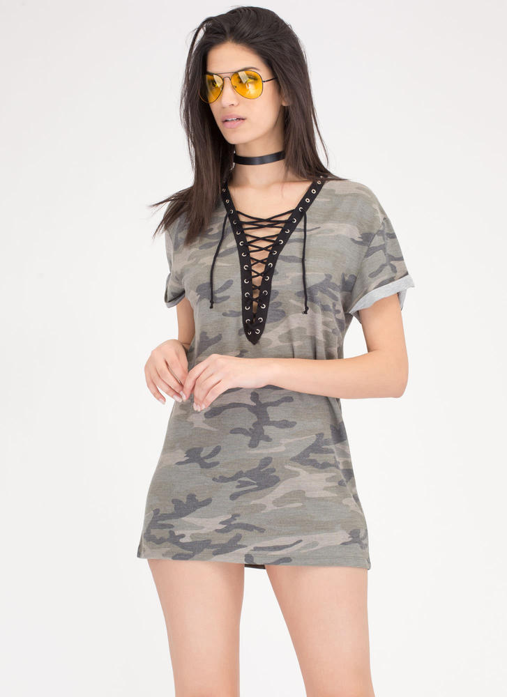 Boot Camp Lace-Up Camo Shirt Dress