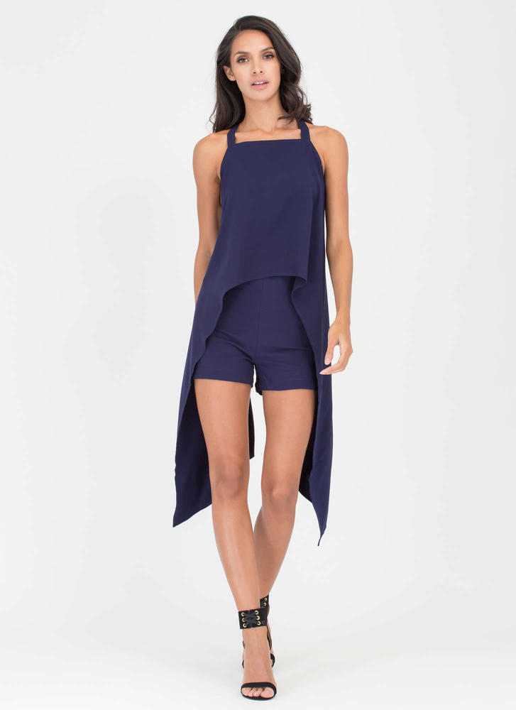 Cross A Line High-Low Top 'N Shorts Set NAVY