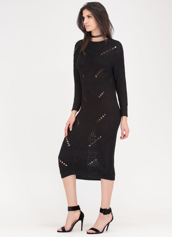 Cozy Challenge Shredded Knit Maxi Dress BLACK