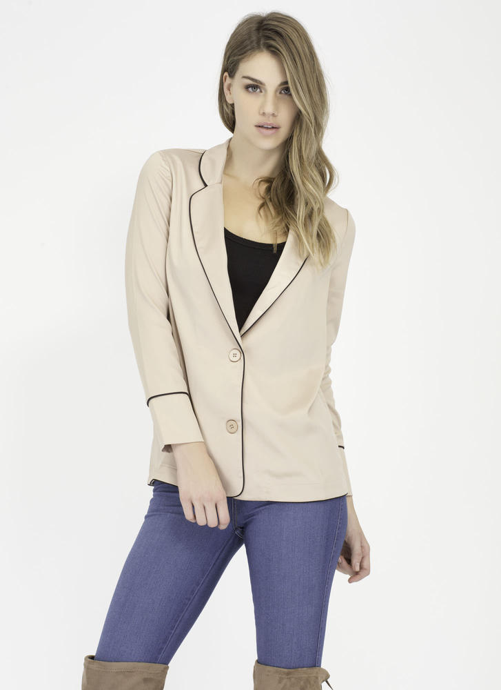 That's My Business Piped Trim Blazer GOLD (Final Sale)