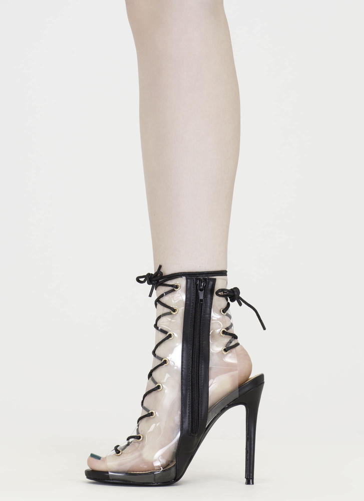 Clear Up Laced Peep-Toe Stiletto Heels BLACK