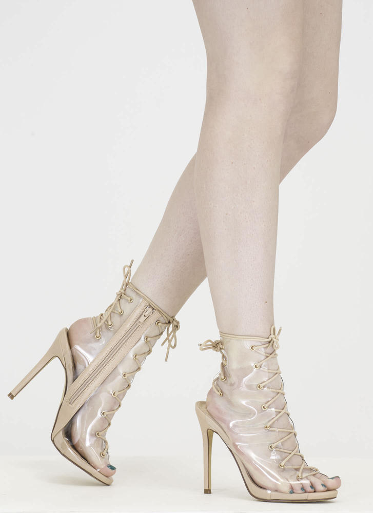 Clear Up Laced Peep-Toe Stiletto Heels