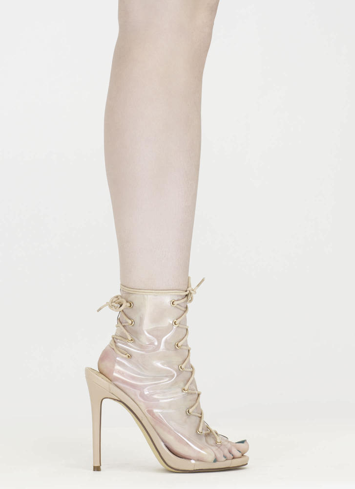 Clear Up Laced Peep-Toe Stiletto Heels NUDE
