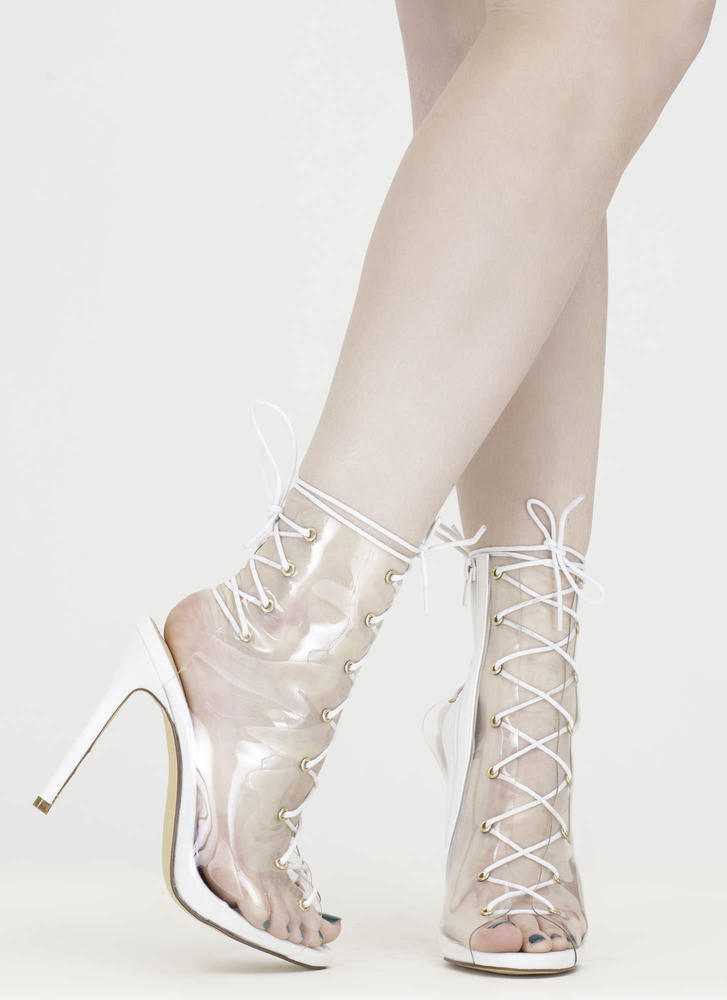 Clear Up Laced Peep-Toe Stiletto Heels WHITE