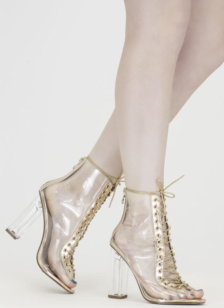 Clear-Cut Metallic Lace-Up Chunky Heels CHAMPAGNE - GoJane.com