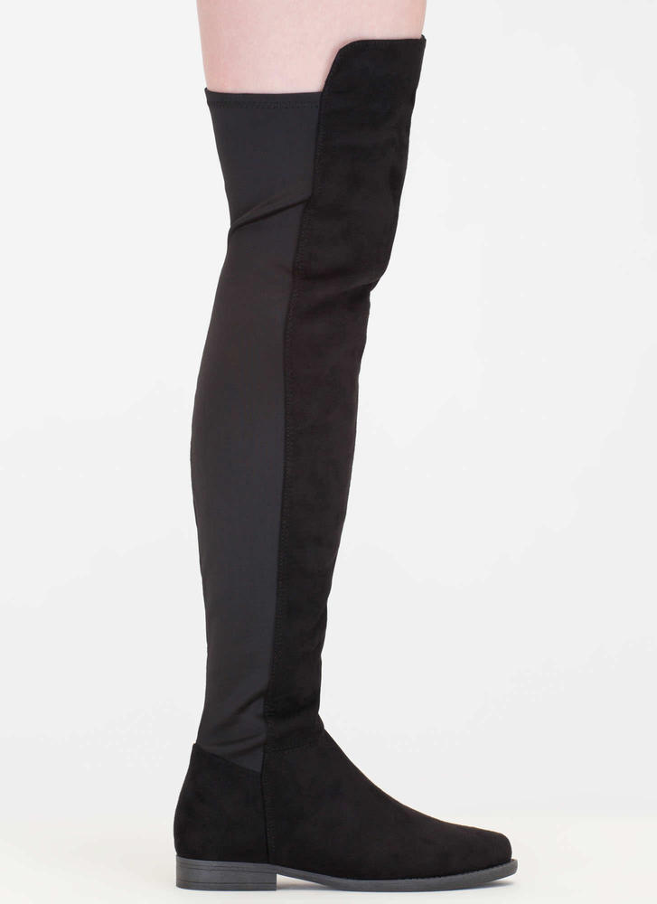 Two-Time Faux Suede Thigh-High Boots BLACK