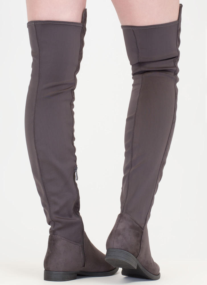 Two-Time Faux Suede Thigh-High Boots CHARCOAL