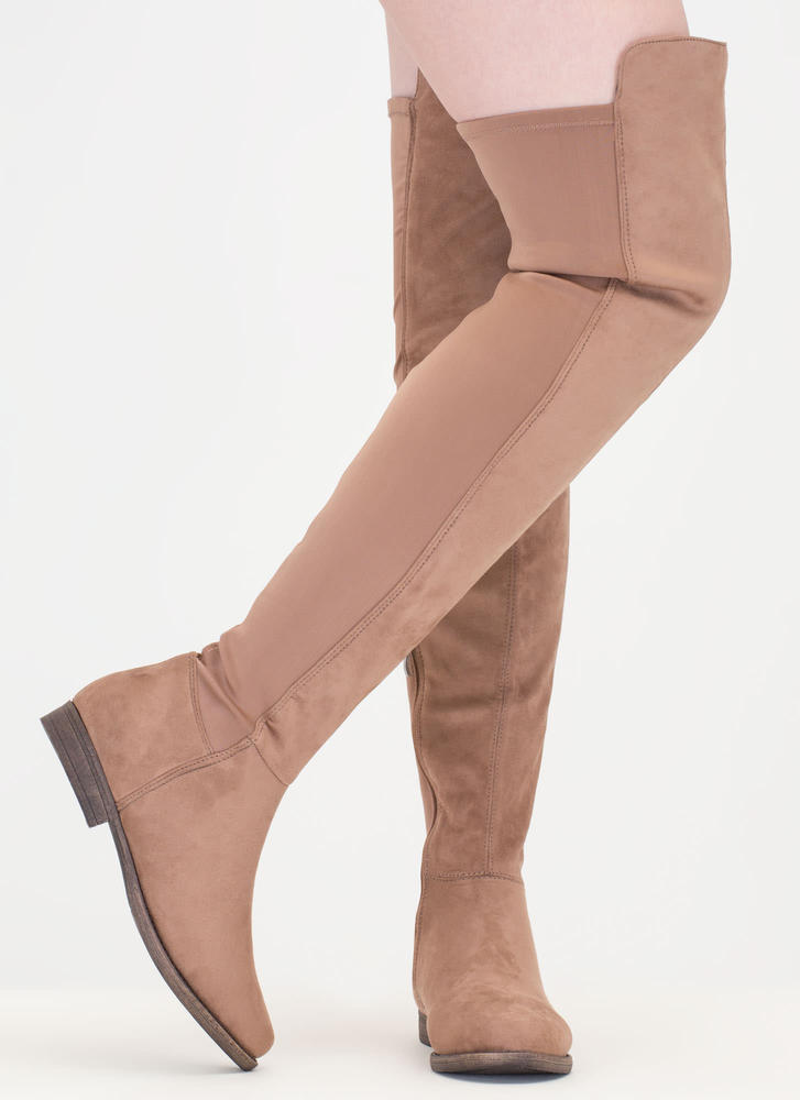 Two-Time Faux Suede Thigh-High Boots TAUPE