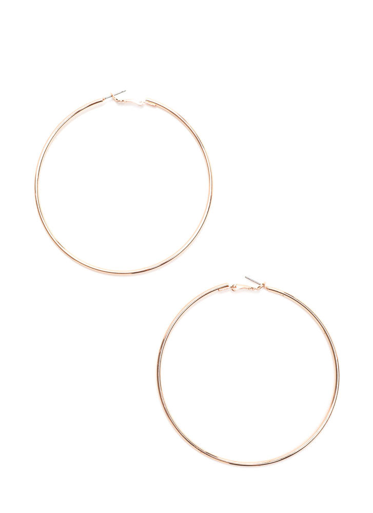 Shoot Hoops Shiny Oversized Earrings ROSEGOLD