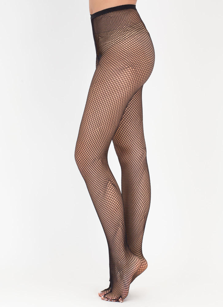 What A Catch Fishnet Tights BLACK