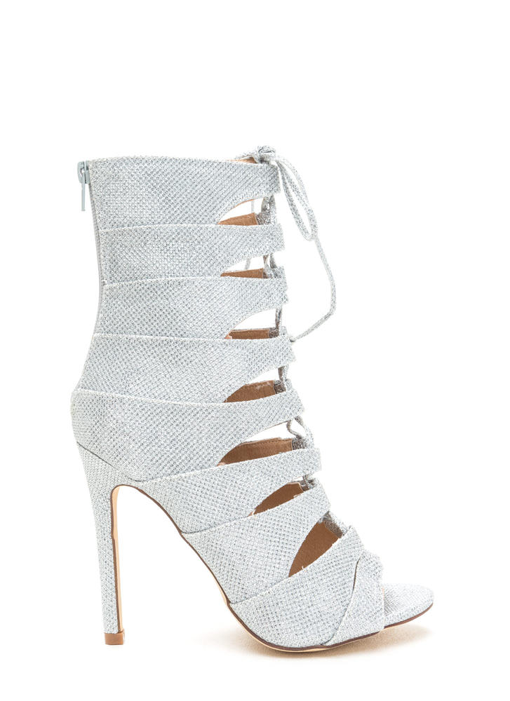 Glisten Here Metallic Lace-Up Heels SILVER