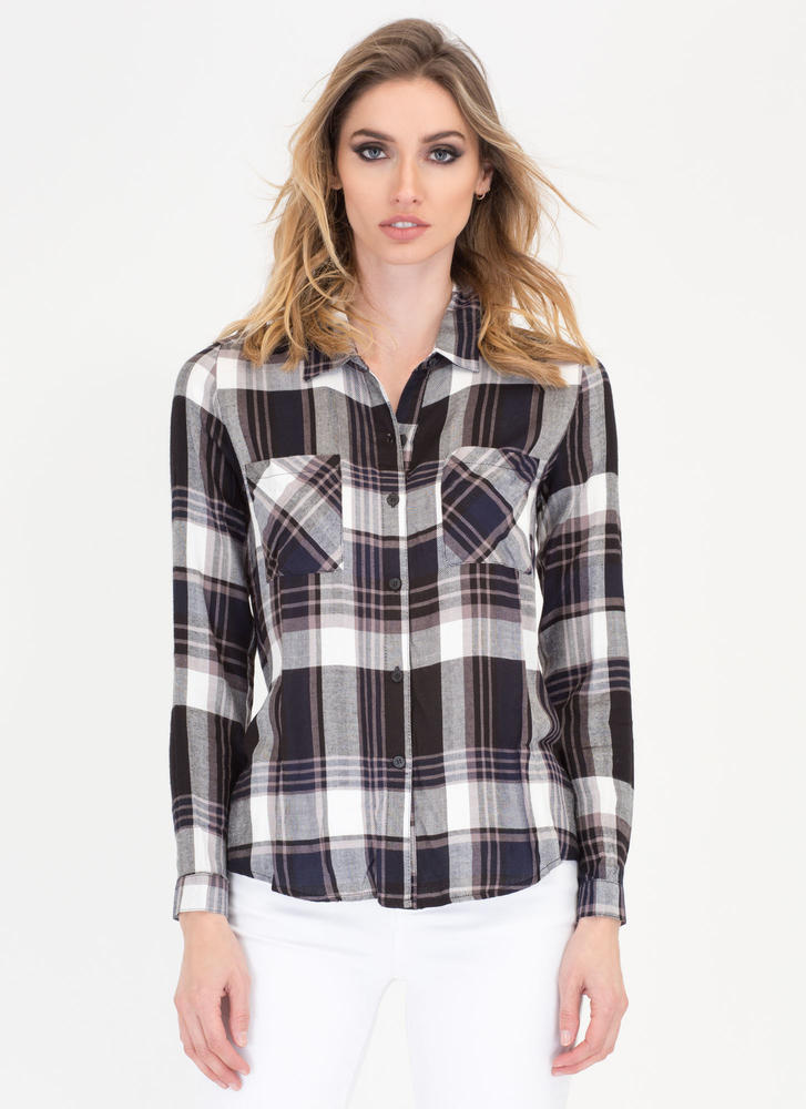 Plaid Girls' Club Collared Button-Up