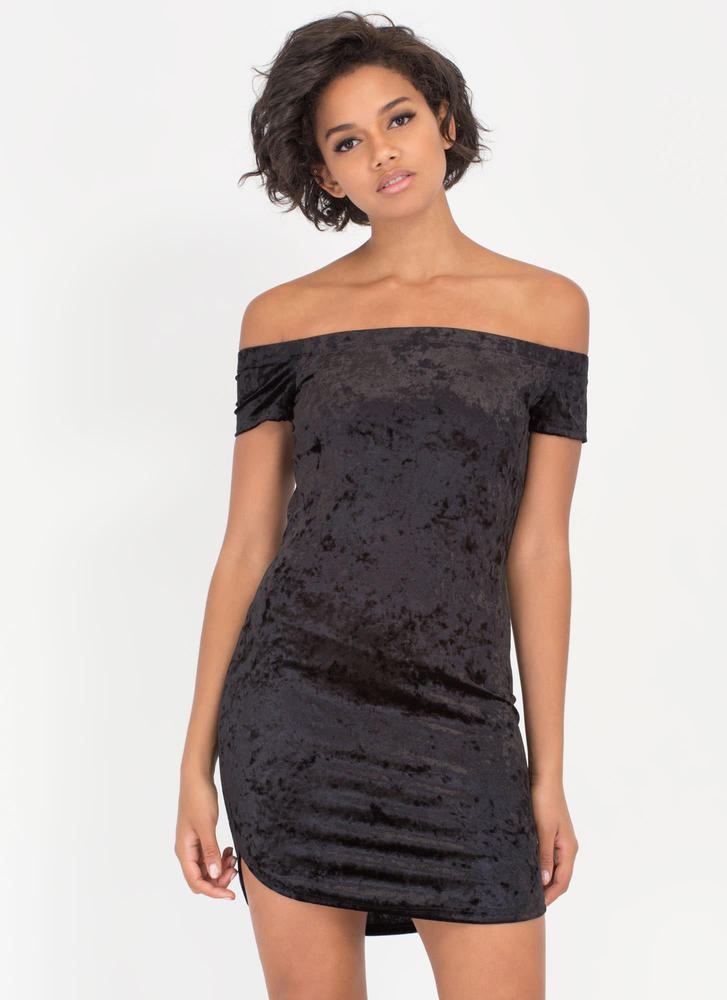 Crush Hour Velvet Off-Shoulder Dress