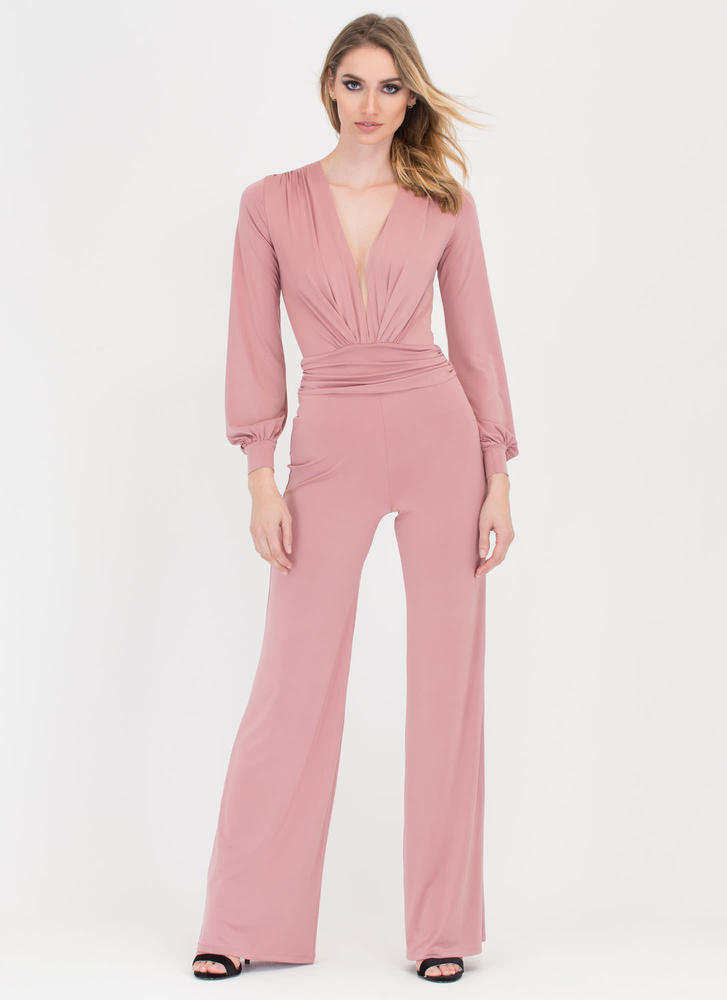 Chics To Me Plunging Palazzo Jumpsuit BLUSH