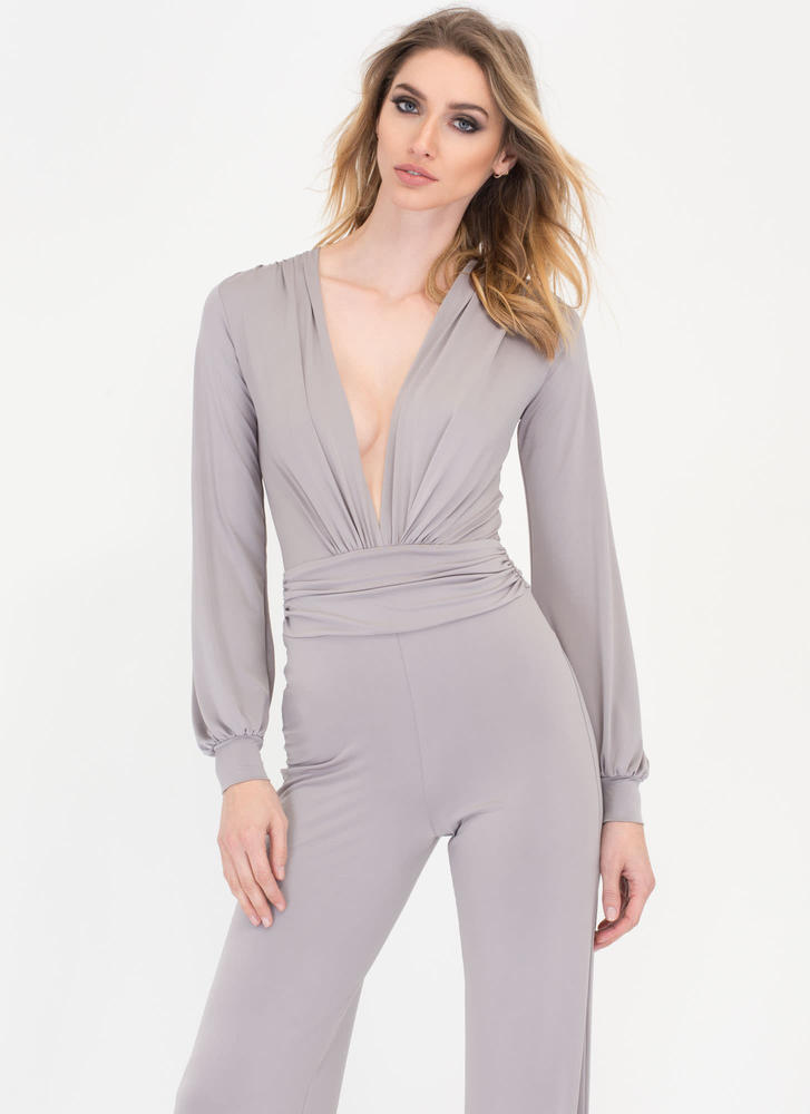Chics To Me Plunging Palazzo Jumpsuit GREY