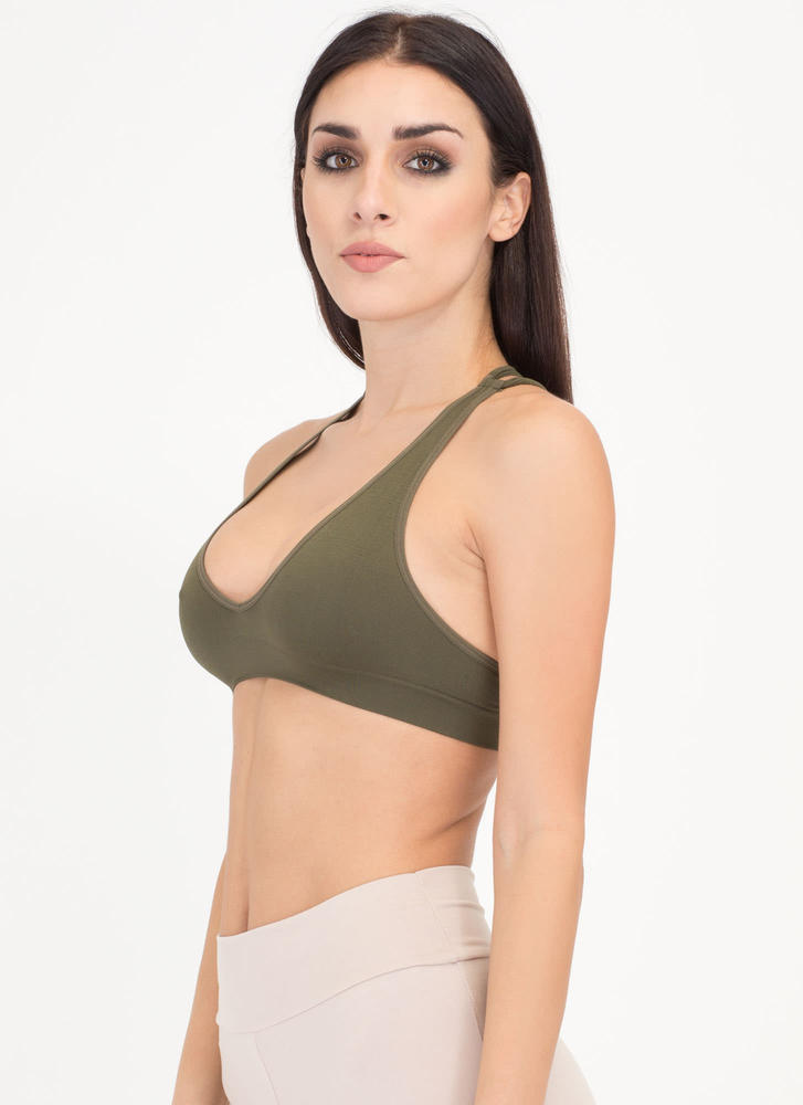 Strappy Accident Caged Bralette OLIVE