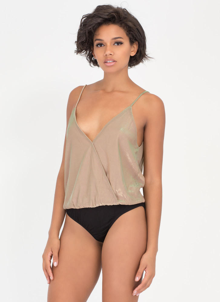 Sheen Stealer Plunging Draped Bodysuit