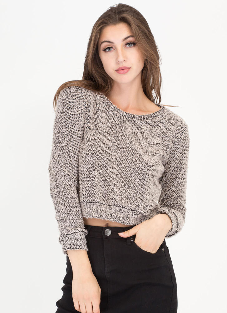 Fuzz Worthy Cropped Knit Sweater TAUPE