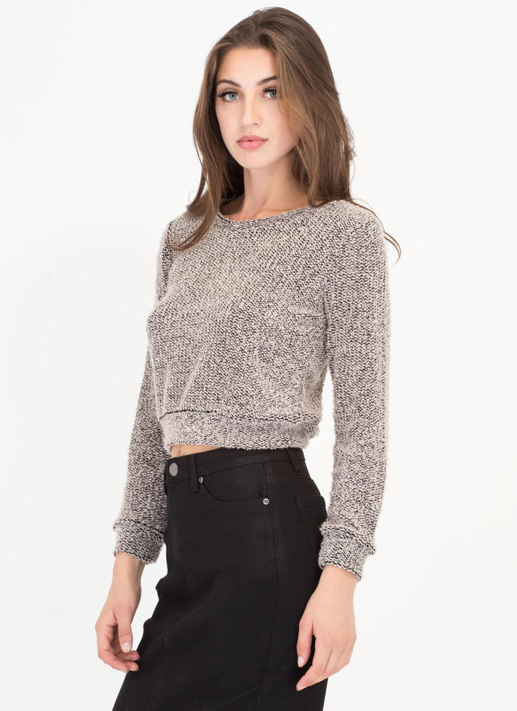 Fuzz Worthy Cropped Knit Sweater TAUPE (Final Sale)
