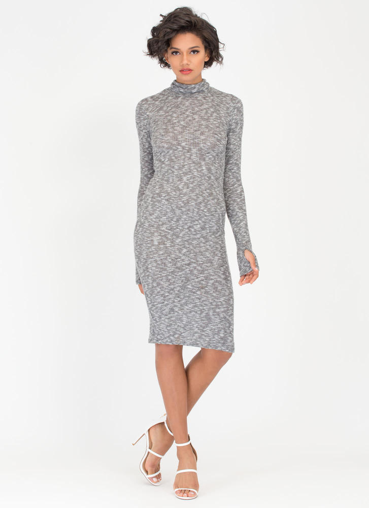 Don't Sweater It Ribbed Turtleneck Dress GREY (Final Sale)