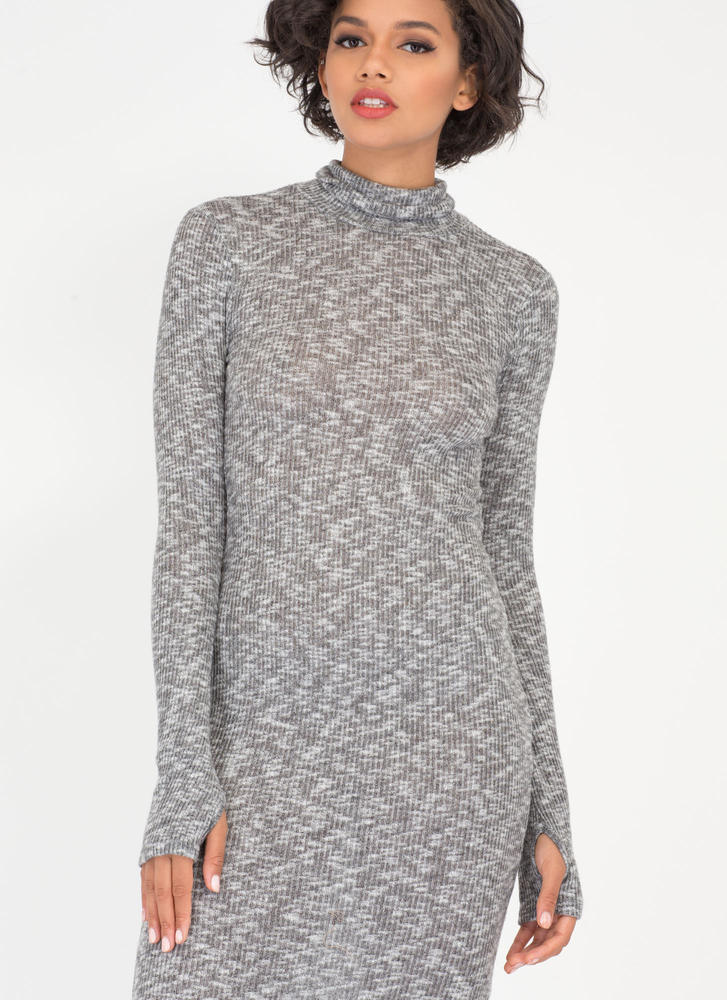 Don't Sweater It Ribbed Turtleneck Dress GREY