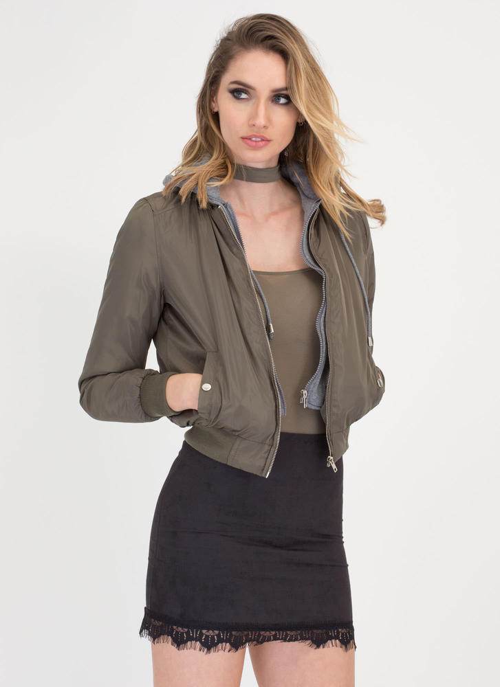 In The Hood Layered Bomber Jacket