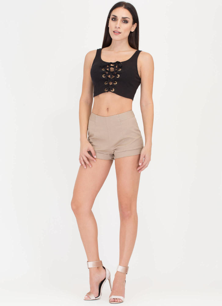 Get A Leg Up Cuffed Canvas Shorts KHAKI