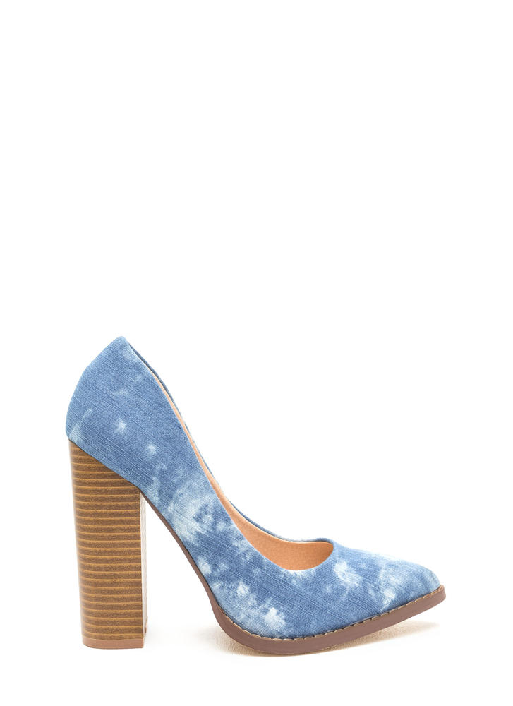 Point At Me Chunky Denim Pumps