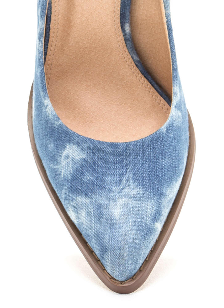Point At Me Chunky Denim Pumps DENIM