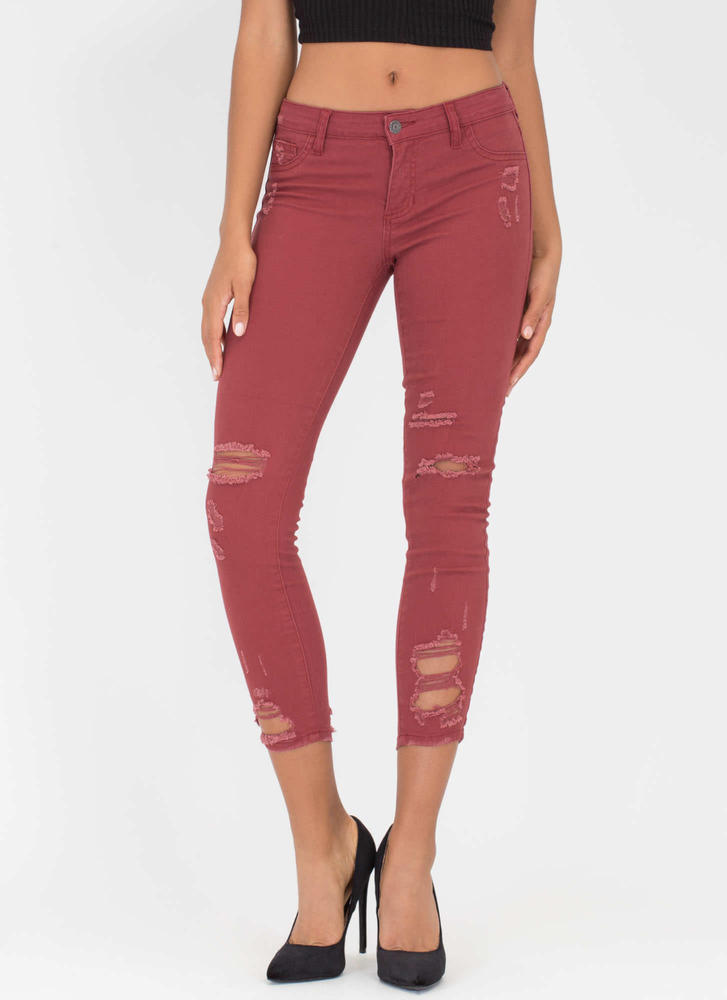 Hey Good Lookin' Distressed Skinny Jeans BRICK