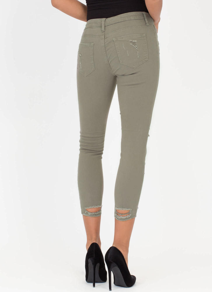 Hey Good Lookin' Distressed Skinny Jeans OLIVE